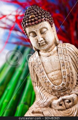 Buddha and blue sky background, vivid colors, natural tone  stock photo, Buddha and blue sky background, vivid colors, natural tone by Sebastian Duda