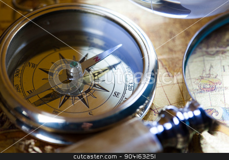 Close up view of the compass stock photo, Close up view of the compass by Sebastian Duda