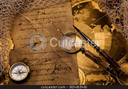 Magnifying glass and old map, colorful bright journey theme stock photo, Magnifying glass and old map, colorful bright journey theme by Sebastian Duda