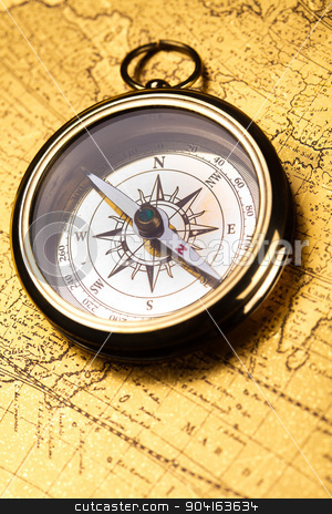 Compass on the old map background stock photo, Compass on the old map background by Sebastian Duda