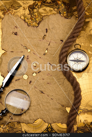 Old style compass, colorful bright journey theme stock photo, Old style compass, colorful bright journey theme by Sebastian Duda