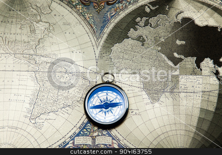 Compass & Old map, colorful bright journey theme stock photo, Compass & Old map, colorful bright journey theme by Sebastian Duda