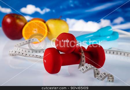 Dumbbells, fresh food and measure tape stock photo, Dumbbells, fresh food and measure tape by Sebastian Duda