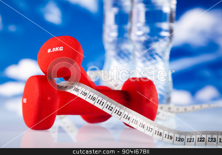 Dumbbells, fresh food and measure tape stock photo, Dumbbells, fresh food and measure tape by Sebastian Duda