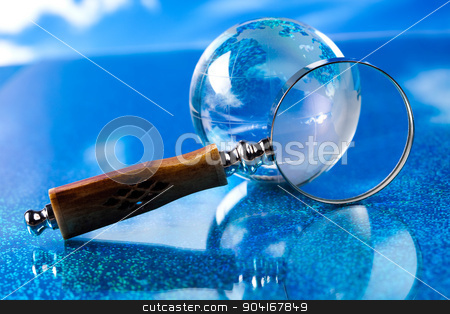 Globe on bright vivid background stock photo, Globe on bright vivid background by Sebastian Duda