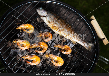 Grilling fish and shrimps, bright colorful vivid theme stock photo, Grilling fish and shrimps, bright colorful vivid theme by Sebastian Duda