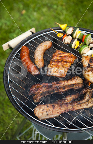 Cooking on the barbecue grill, bright colorful vivid theme stock photo, Cooking on the barbecue grill, bright colorful vivid theme by Sebastian Duda