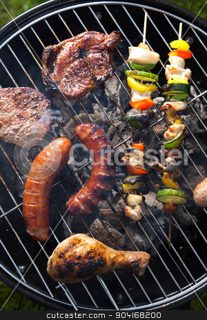 Barbecue a hot summer evening, Grilling  stock photo, Barbecue a hot summer evening, Grilling by Sebastian Duda