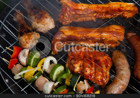 Grilling, bright colorful vivid theme stock photo, Grilling, bright colorful vivid theme by Sebastian Duda