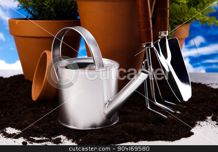 Assorted gardening, vivid bright springtime concept stock photo, Assorted gardening, vivid bright springtime concept by Sebastian Duda
