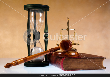 Mallet of judge, legal code and scales stock photo, Mallet of judge, legal code and scales by Sebastian Duda