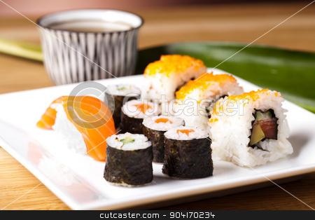 Japanese mix sushi, oriental cuisine colorful theme stock photo, Japanese mix sushi, oriental cuisine colorful theme by Sebastian Duda