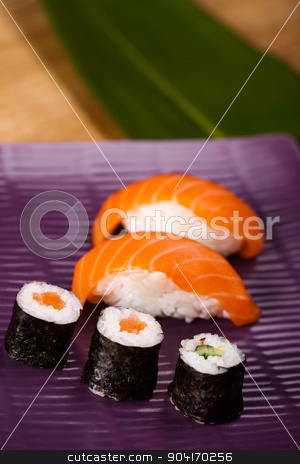 Set of sushi, oriental cuisine colorful theme stock photo, Set of sushi, oriental cuisine colorful theme by Sebastian Duda