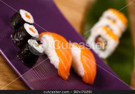 Set of sushi, oriental cuisine colorful theme stock photo, Set of sushi, oriental cuisine colorful theme by Sebastian Duda