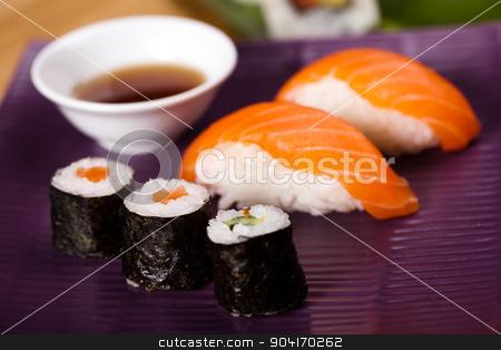 Rolls of sushi, oriental cuisine colorful theme stock photo, Rolls of sushi, oriental cuisine colorful theme by Sebastian Duda