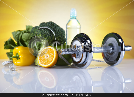 Fitness food stock photo, Dumbbells, fresh food and measure tape by Sebastian Duda