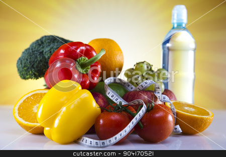 Fitness food stock photo, Vegetable, Fruits and fitness, bright colorful tone concept by Sebastian Duda