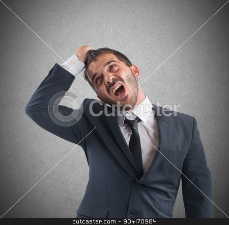 Crazy businessman screams stock photo, Crazy businessman stressed out from work screams by Federico Caputo