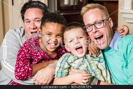 Gay Parents With Chidren stock photo, Gay parents pose with their childen in the living room by Scott Griessel