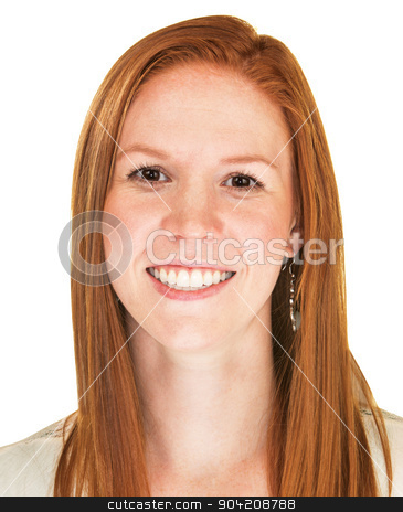 Close Up of Happy Woman stock photo, Isolated cute young Caucasian female with smile by Scott Griessel