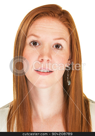 Happy Woman with Raised Eyebrows stock photo, Isoalted grinning Caucasian adult with raised eyebrows by Scott Griessel