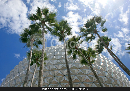 Modern Architecture stock photo, A modern building with palm trees in front by Lucy Clark