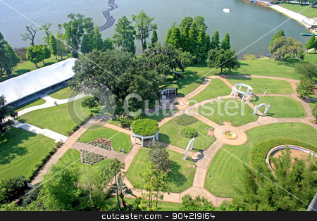Gardens stock photo, A view of gardens from up high by Lucy Clark