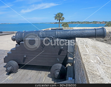 Cannon stock photo, A Cannon at the Castillo de San Marcos Fort in St Augustine, Florida. by Lucy Clark