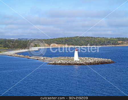 McNabs Island Lighthouse stock photo, The Lighthouse on McNabs Island, Halifax, Nova Scotia, Canada by Lucy Clark