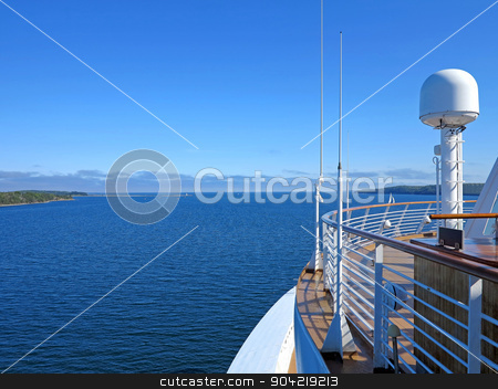 Cruise Ship View stock photo, The view of McNabs Island, Halifax, Nova Scotia, Canada from a cruise ship by Lucy Clark