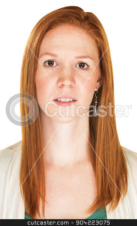 Apprehensive Woman stock photo, Cautious young European female with red hair over white by Scott Griessel