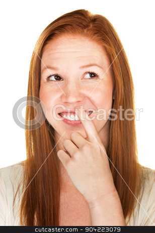Smiling Woman Comparing stock photo, Isolated smiling young adult female comparing something by Scott Griessel
