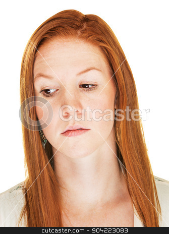 Disappointed Female stock photo, Close up of isolated disappointed Caucasian female by Scott Griessel