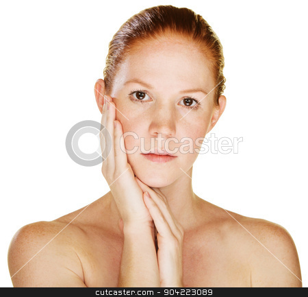 Female with Palm on Cheek stock photo, Serious beautiful young Caucasian female with hand on cheek by Scott Griessel