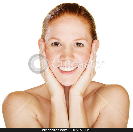 Smiling Woman Holding Face stock photo, Smiling young woman with hands on face by Scott Griessel