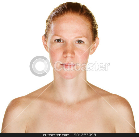 Calm Lady with Bare Shoulders stock photo, Calm single red haired female with bare shoulders by Scott Griessel