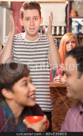 Shocked Man with Cheating Partner stock photo, Shocked man with lip ring watching cheating partner in cafe by Scott Griessel