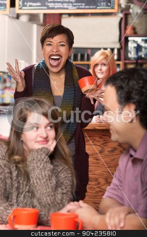Upset Woman Sees Dishonest Boyfriend stock photo, Angry lady and dishonest boyfriend having coffee with other woman by Scott Griessel