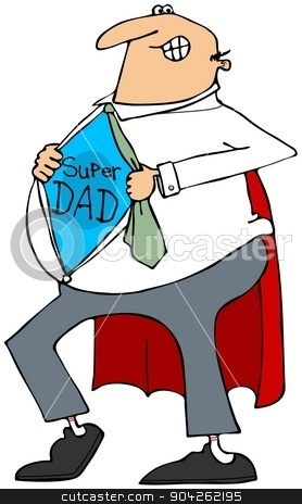 Super Dad stock photo, This illustration depicts a father ripping open his shirt to reveal his super dad outfit. by Dennis Cox