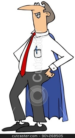 Hero Dad stock photo, This illustration depicts a proud Dad with hands on his hips and wearing a hero's cape. by Dennis Cox