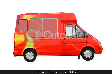 Ice Cream Truck stock photo, Ice Cream Truck isolated on a white background. by Martin Crowdy