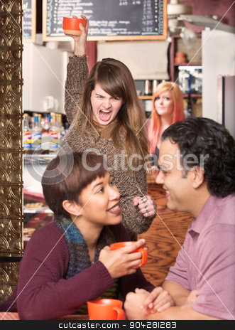 Lady Throwing Cup and Cheating Boyfriend stock photo, Furious woman throwing cup at cheating boyfriend in cafe by Scott Griessel