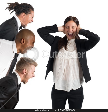 Tired of leaders screams stock photo, Businesswoman tired of hearing the leaders screams by Federico Caputo