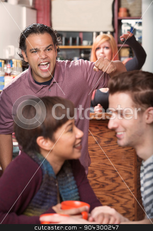 Hostile Man and Loving Couple stock photo, Hostile man with raised fist threatening loving couple in cafe by Scott Griessel