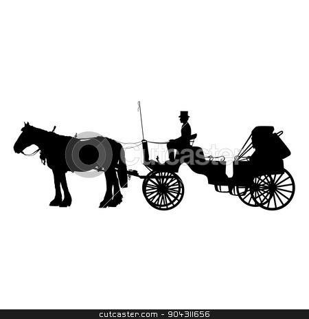 Horse and Buggy stock vector clipart, A black silhouette of a horse and buggy or carriage by Maria Bell