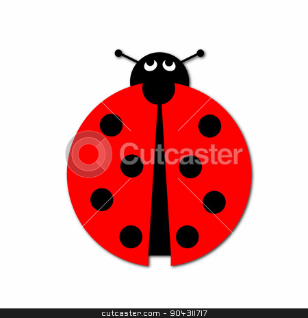 Ladybug stock photo, Ladybug illustration on white background. by Henrik Lehnerer