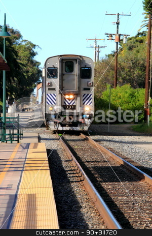 Ventura Train Station stock photo, Train Station in Ventura California with a view of the tracks and train. by Henrik Lehnerer