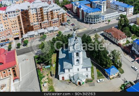 Aerial view on Archangel Michael Church. Tyumen