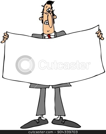 Businessman holding a white banner stock photo, This illustration depicts a businessman holding a large, white, blank banner. by Dennis Cox