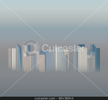 High-rise office city buildings in the smog, vector illustration